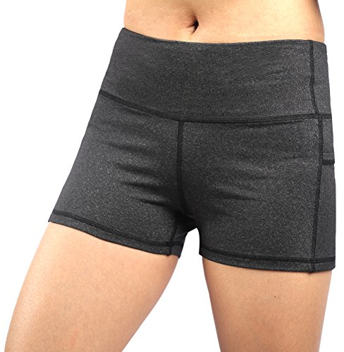 Neonysweets Legging Court Femme Pantalon Sport Yoga Course Jogging Taille Normale Gris