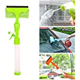 Credly Glass Cleaner Wiper - 3-in-1 Windshield Cleaner Brush Glass Wiper Squeegee Washer Cleaner With Microfiber Scrubber Spray Bottle For Window Shower Floor Car Home And Office Glass