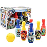 Disney Toy Story 4 Set Bolos Infantil Pixar | Juego De Bolos para Niños con 6 Bolos Azul, Rojos, Amarillo Y Una Bola De Bolos Amarilla | Bolos Infantiles Juegos De Exterior E Interior