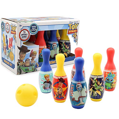 Disney Toy Story 4 Bowling Kinder, Kegelspiel Set mit 6 Bowlingkugel und 1 Ball, Pädagogisches Spielzeug für Mädchen und Jungen, Interaktives Spiele, Geschenkset Kinder, Spiele ab 3 Jahre