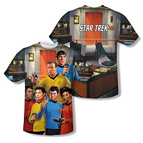 Star Trek - - Herren-Brücke (vorne / hinten Print) T-Shirt Sublimate White