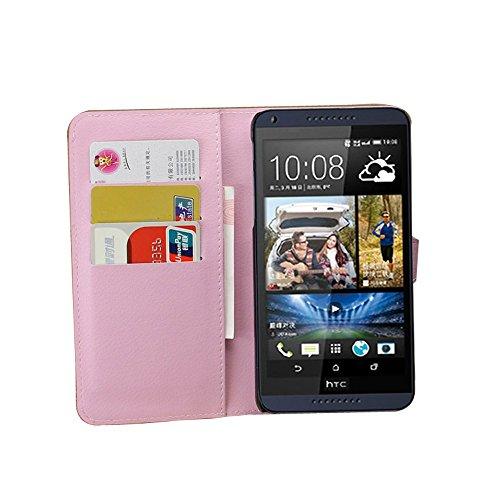 Tasche für HTC Desire 816 Hülle, Ycloud PU Ledertasche Flip Cover Wallet Case Handyhülle mit Stand Function Credit Card Slots Bookstyle Purse Design rosa