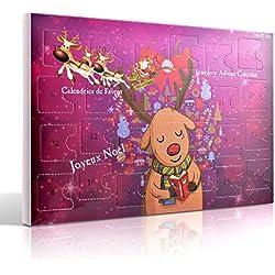 MJARTORIA Schmuck Adventskalender 2019 Weihnachtskalender Damen Kinder Mädchen Adventszeit mit 24 Überraschungen Kette Armband Ohrringe Ringe Charms Anhänger Weihnachten Geschenk Lila Elche