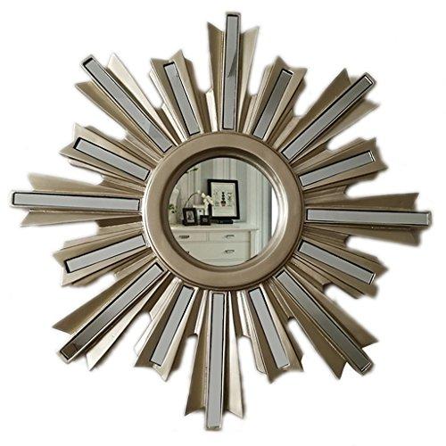 Umrahmt Harz (LIU UK Makeup Mirror Dressing Spiegel Europäischen Pastoralen Stil Harz Spiegel Retro Wandbehang Dekorative Spiegel Wohnzimmer Spiegel Veranda Badezimmer Mirror58 * 58 cm (Farbe : Champagner))
