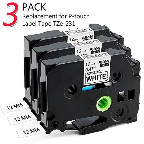 Compatible Brother P-touch TZe TZ Nastro per Etichette 12mm, Label Tape TZe-231 TZ-231 Nero su Bianco - per Brother Ptouch Etichettatrice PT 1000 1280 7600 1010 1005 P700, 3 Pack