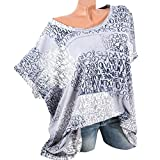 OverDose Damen Blumen Spitze Tops Frauen Kurzarm V-Ausschnitt Spitze Gedruckte Lose T-Shirt Bluse Oberteile Tees Shirt(Y-Gray,Y-Gray)