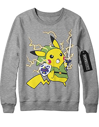 Sweatshirt Pokemon Go Pikachu Link Mashup Legend of Zelda Hyrule Mastersword Triforce Trainer Kanto Official Gym Leader X Y Nintendo Blue Red Yellow Plus Hype Nerd Game C123133 Grau L