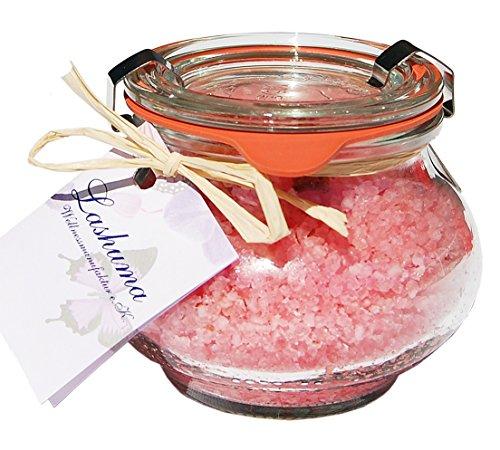 Lashuma Badesalze Wellness Badesalz Totes Meer Rose mit echten Rosenblüten im Glas, Badezusatz im Weck Schmuckglas 250 g