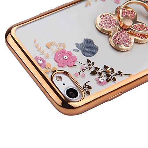 iPhone 7 Custodia Transparente,Plastica Hard Protettiva Cover Case Per iPhone 7,Lusso Rosa Color la Cornice Disegno,Bling Sparkle Crystal Chiaro Diamante Strass e Frafalla Pattern,Ultra Slim Sottile R Rosa Fiori/Quattro trifoglio/Oro