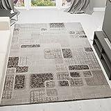 Designer Teppich Modern Kariert Retro Muster Meliert in Grau Hellgrau Beige 160x230 cm