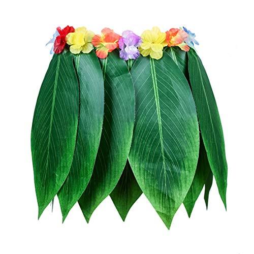 2pcs Hawai Blatt Gras Rock Hula Kostüme Tropical Beach Party Dekorationen Karneval Halloween für Kinder und Erwachsene