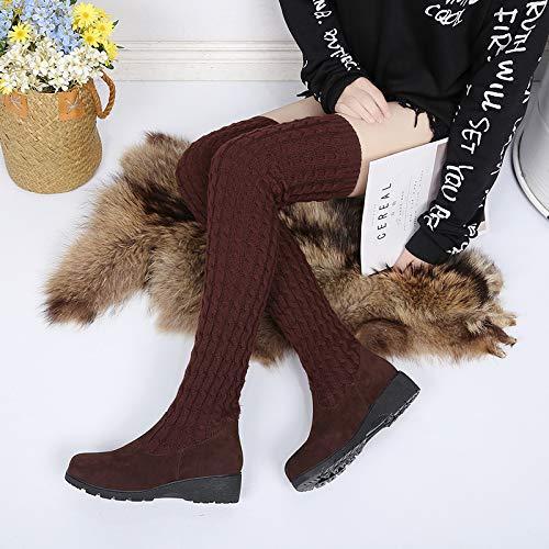 Shukun Stiefeletten Winterstiefel Damen Lackstiefel Lange Stiefel gestrickt Hohe Elastische Stiefel Studenten Muffin Bottom, 38, Braun