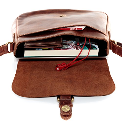 SID & VAIN® borsa a spalla vera pelle vintage YALE sacchetto tracolla donna cuoio marrone