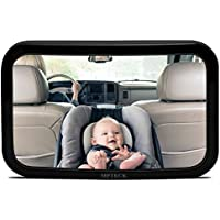 MPTECK @ Espejo retrovisor bebé coche retrovisor Ajustable Irrompible espejo para vigilar al bebé en el coche asientos de niños orientados hacia atrás