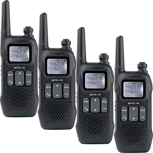 Retevis RT616 Funkgerät Set Walkie Talkie Lizenzfrei 16 Kanäle 10 Ruftöne VOX Dual Watch FM Radio Squelch USB Aufladbar Taschenlampe PMR Funkgeräte (2 Paare, Schwarz)
