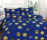Set di biancheria da letto in policotone, con copripiumino, con motivo stampato a cervi in tema natalizio, Emoji Blue, King