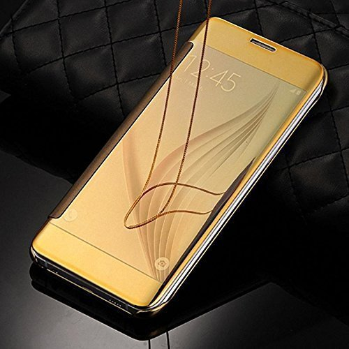 Cool & Creative Luxury Smart View Mirror Flip Cover For SAMSUNG GALAXY ON 8 - GOLD