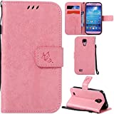 Ooboom® Samsung Galaxy S4 Case Cat Tree Pattern PU Leather Flip Cover Wallet Stand with Card/Cash Slots Packet Wrist Strap Magnetic Clasp for Samsung Galaxy S4 - Pink