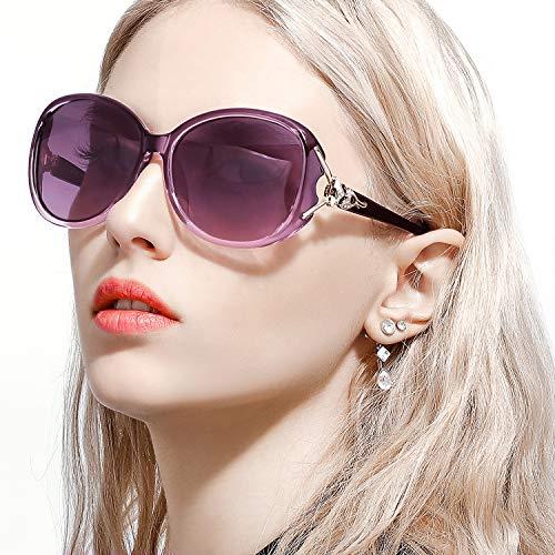 FIMILU Sonnenbrillen Damen Über-Groß, Retro Designer-polarisiert Brille Frauen, 100% UVA/UVB Schutz (Violett,Violett)