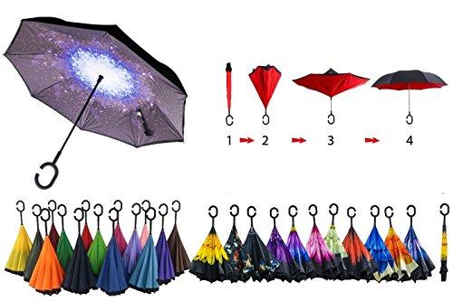 Paraguas inverso reversible, diseño de fantasía, apertura automática en el sentido contrario a la lluvia