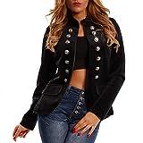 Made Italy Damen Blazer in Uniform Stil Militäry Samtblazer mit auffallenden Zierknöpfen, Farbe:Schwarz;Größe:36/S