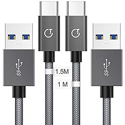 Gritin USB C Cable, [2-Pack/1.5M+1M] High Speed USB 3.0 Nylon Braided Type C Cable for Samsung Galaxy S9/S8+, Note 8 etc.