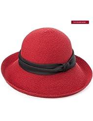 LWT-Hat Tendencias de verano de las mujeres Sombrero de tomar el sol Gorra plegable de playa Protección UV Gran tapón de cojín Puños Elegante sombrero plegable Bowknot ajustable