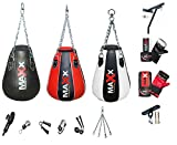 Maxx Pear shaped maize Boxing punchbag with wall bracket or Ceiling Hook + FREE CHAIN 3 (blkred 12pc+brkt)