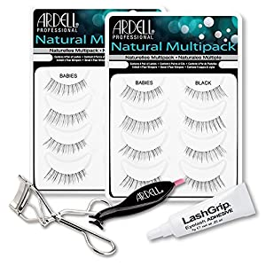 Ardell Fake Eyelashes Babies Value Pack - Natural Multipack Babies (Black, 2-Pack), LashGrip Strip Adhesive, Dual Lash Applicator, Cameo Eyelash Curler -Everything Needed For Perfect False Eyelashes by Ardell