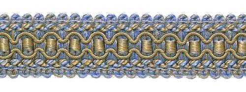 Bleu Lavande, Taupe 2,5 cm Imperial II Gimp Tresse Style # 0125ig Couleur : pervenche Doré – 5080 (vendu au mètre)