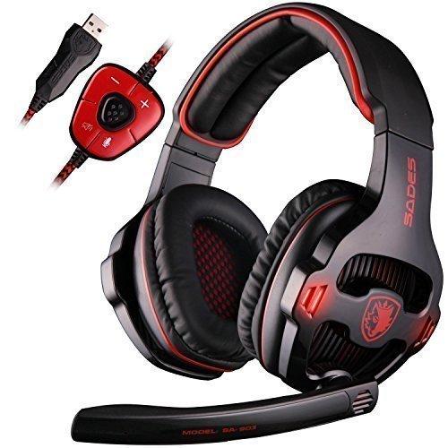 USB Headset, SADES SA903 Stereo Gaming Headset 7.1 Surround Sound PC Kopfhörer mit Mikrofon LED-Licht Kopfhörer (SA903 Red)
