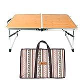 Bloomma Bett Tisch, Faltbar Laptop Tisch Bambus-Brett und Aluminium Legierung Kleine Camping Tisch für Innen-Studie, Outdoor, Picknick, Barbecue, Reise