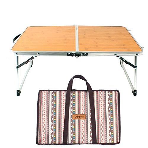 Bloomma Betttisch, Faltbarer Laptop-Tisch, Bambusbrett und Aluminiumlegierung, Kleiner Campingtisch für Innenstudierung, Outdoor Picknick, Grill, Reisen