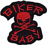 Iron on Patch Sew on Embroidered Application Patches Biker Baby MC Skull and Bones Red Big Size
