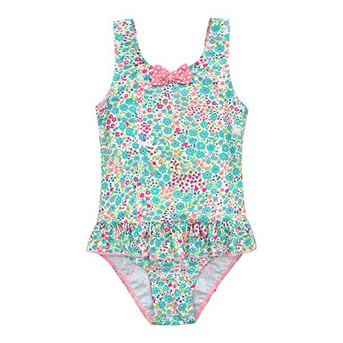 YyZCL Mädchen Kinder Gedruckt Floral Badeanzug Badeanzug Bowknot Schwimmen Kostüm Uv Schutz Bademode Badeanzug (Größe : 8) -