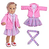huichang 4PC Student Clothing School Style Pleated Dress Uniform Outfit For 18 inch American Girl Doll (Pink)