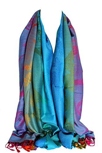 Floral Print Schal (Floral Print Regenbogen Farben große Pashmina-Feel Wrap Scarf Schal Hijab Kopf Schals (190cm X 70cm with approx 4'' tassels , Floral 10))