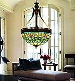 makenier Vintage Tiffany-Stil gebeizt Glas grün Streifen Blume seitenverkehrt Deckenleuchte Hängelampe, 40,6cm Lampenschirm
