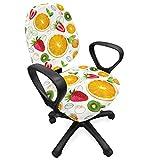 ABAKUHAUS Frutas Funda Protectora para Silla de Oficina, Citrus Fresh Kiwi limón, Protectora con Estampa Digital Decorativa Tejido Elastizado, Tierra Amarilla Verde Lima