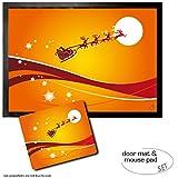 Set: 1 Fußmatte Türmatte (70x50 cm) + 1 Mauspad (23x19 cm) - Weihnachten, der Weihnachtsmann und Sein Rentier Schlitten Fliegen Über Den Mond