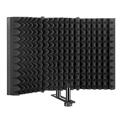 AGPtEK, scudo di isolamento per microfono, pannello riflettente in schiuma per studio di registrazione, per supporto o tavolo pieghevole, regolabile e resistente (grande)