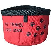 SODIAL(R) Comedero Bebedero Portatil Color Rojo para Perro Gato Mascotas