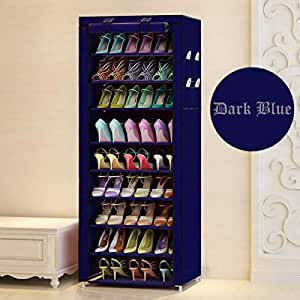Aysis Multipurpose Portable Folding Shoes Rack 9 Tiers Multi-Purpose Shoe Storage Organizer Cabinet Tower with Iron and Nonwoven Fabric with Zippered Dustproof Cover-Navy Blue-Grey (Navy Blue)
