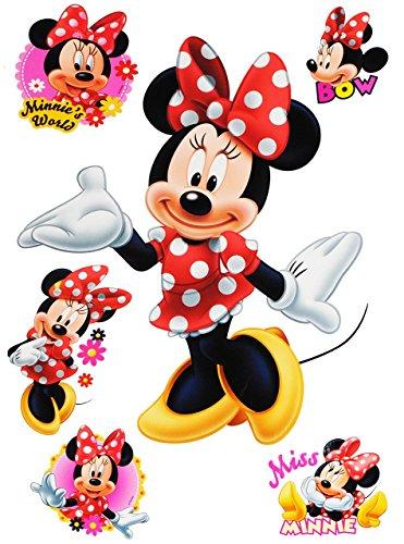Unbekannt 6 TLG. Set _ Fensterbilder -  Minnie Mouse  - Sticker Fenstersticker Aufkleber - selbstklebend + wiederverwendbar - Fensterbild / z.B. für Fenster und Spieg.. (Minnie Maus-kühlschrank)
