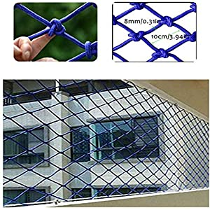 LHF Safety Nets,Multi-Purpose Safe Net Balcony Railing Stair Safety Protection Net Kids/Pet/Toy Anti-Fall Net Kindergarten Wall Decoration Fence Photo Wall Hang Clothes Blue Indoor,4x10m   5