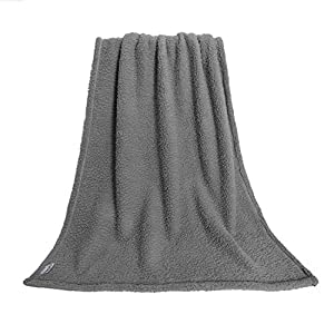 furrybaby Premium Fluffy Fleece Dog Blanket, Soft and Warm Pet Throw for Dogs & Cats Grey (Large (100x120cm))