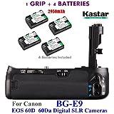 Kastar Pro Multi-Power Vertical Battery Grip (Replacement For BG-E9) + 4x LP-E6 Replacement Batteries For Canon EOS 60D 60Da Digital SLR Cameras