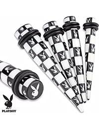 Impreso Negro/Blanco Playboy Bunny patrón de cuadros acrílico Taper con O-rings (vendido como par)