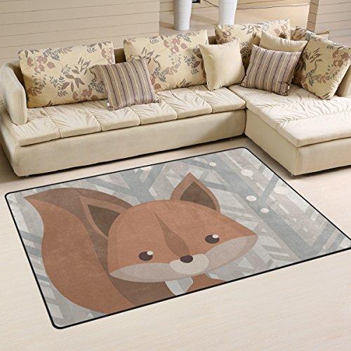 yibaihe, leicht, bedruckt mit Deko-Teppich, Teppich, modern Cartoon-Muster Fuchs, wasserabweisend stoßfest. Für Wohn- und Schlafzimmer, 153 x 100 cm