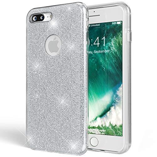 NALIA Handyhülle kompatibel mit iPhone 8 Plus, Glitzer Hülle Ultra-Slim Silikon Case Cover Schutzhülle, Glitter Sparkle Handy-Tasche Bumper, Dünnes Bling Strass Etui, Farbe:Silber